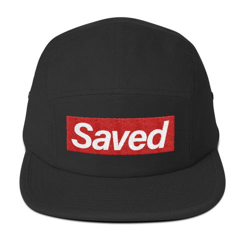 """Saved"" Five Panel Cap in Black"