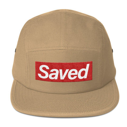 """Saved"" Brand Five Panel Cap in Khaki"
