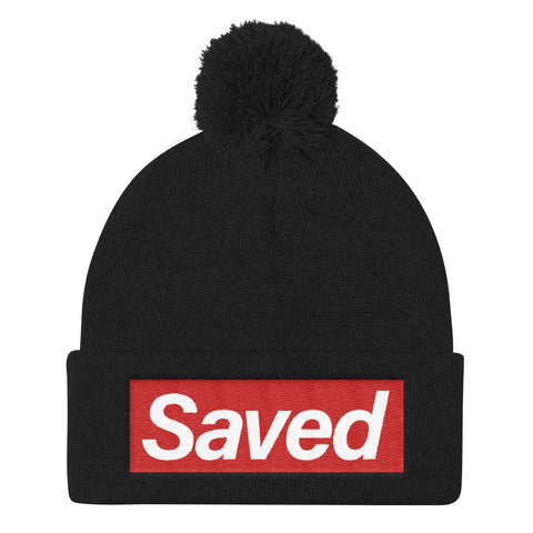 """Saved"" Pom Pom Knit Cap"