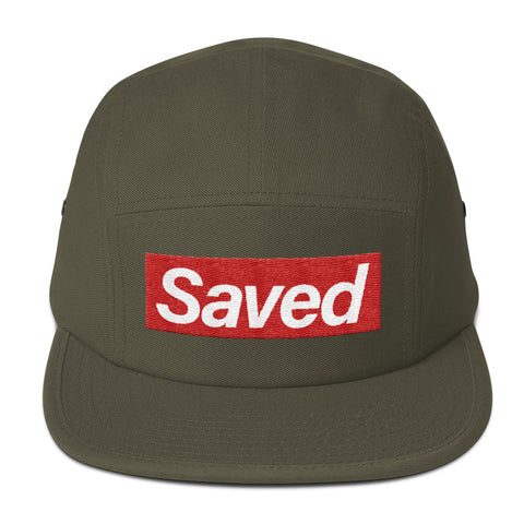 """Saved"" Brand Five Panel Cap in Army Green"