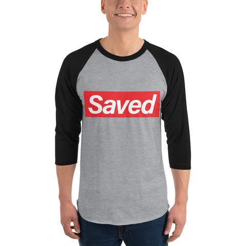 """Saved"" Brand 3/4 sleeve raglan shirt in Blk and Gry"
