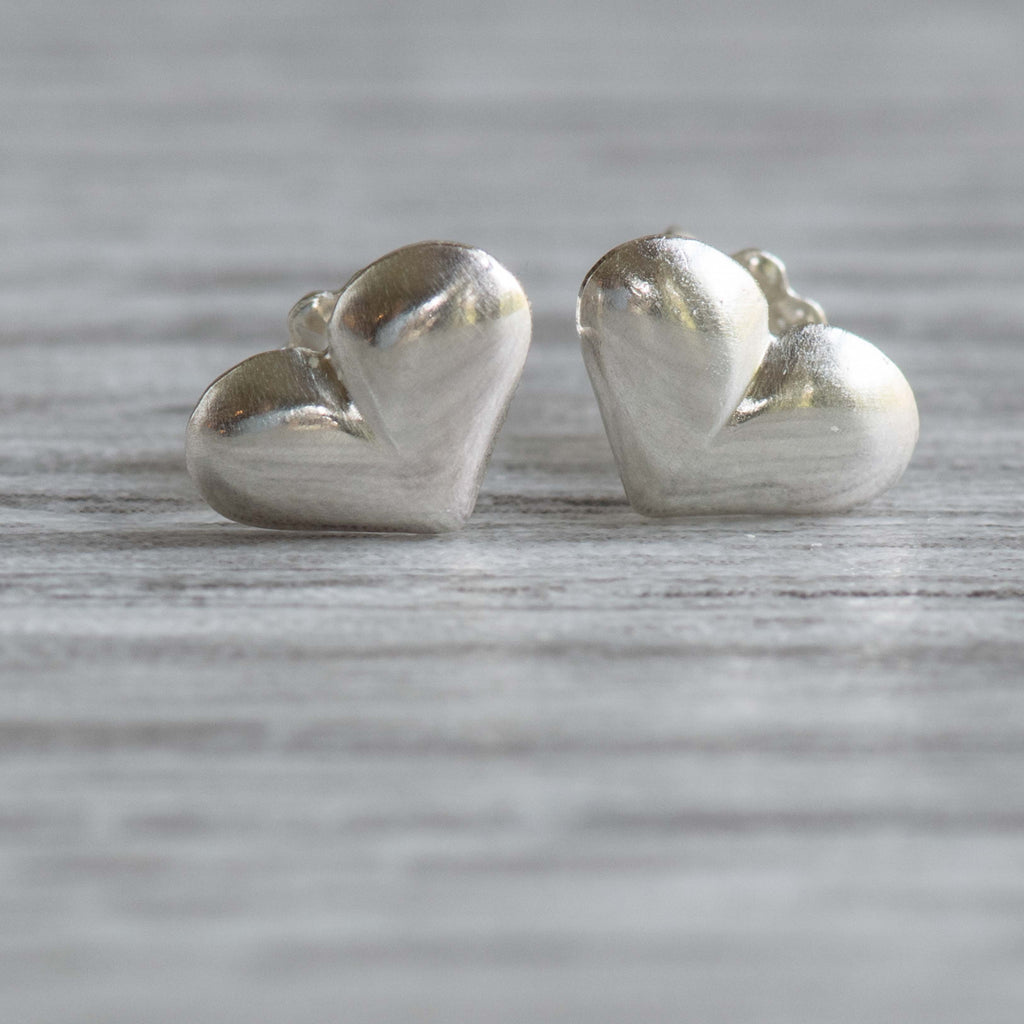 Small Puff Heart Post Earrings - Nancy's Designs