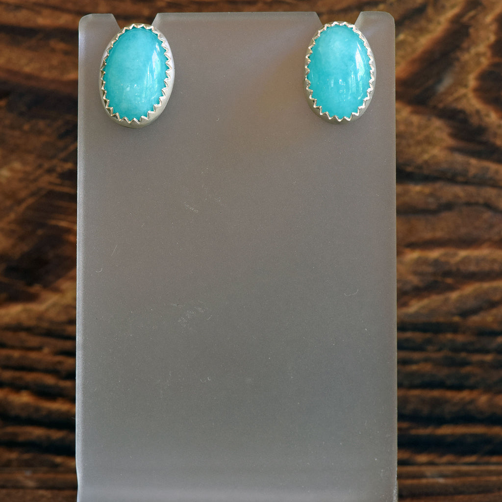 Amazonite Oval Post Earrings