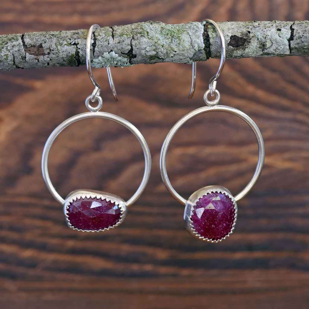Mozambique Ruby Gemstone and Silver Earrings