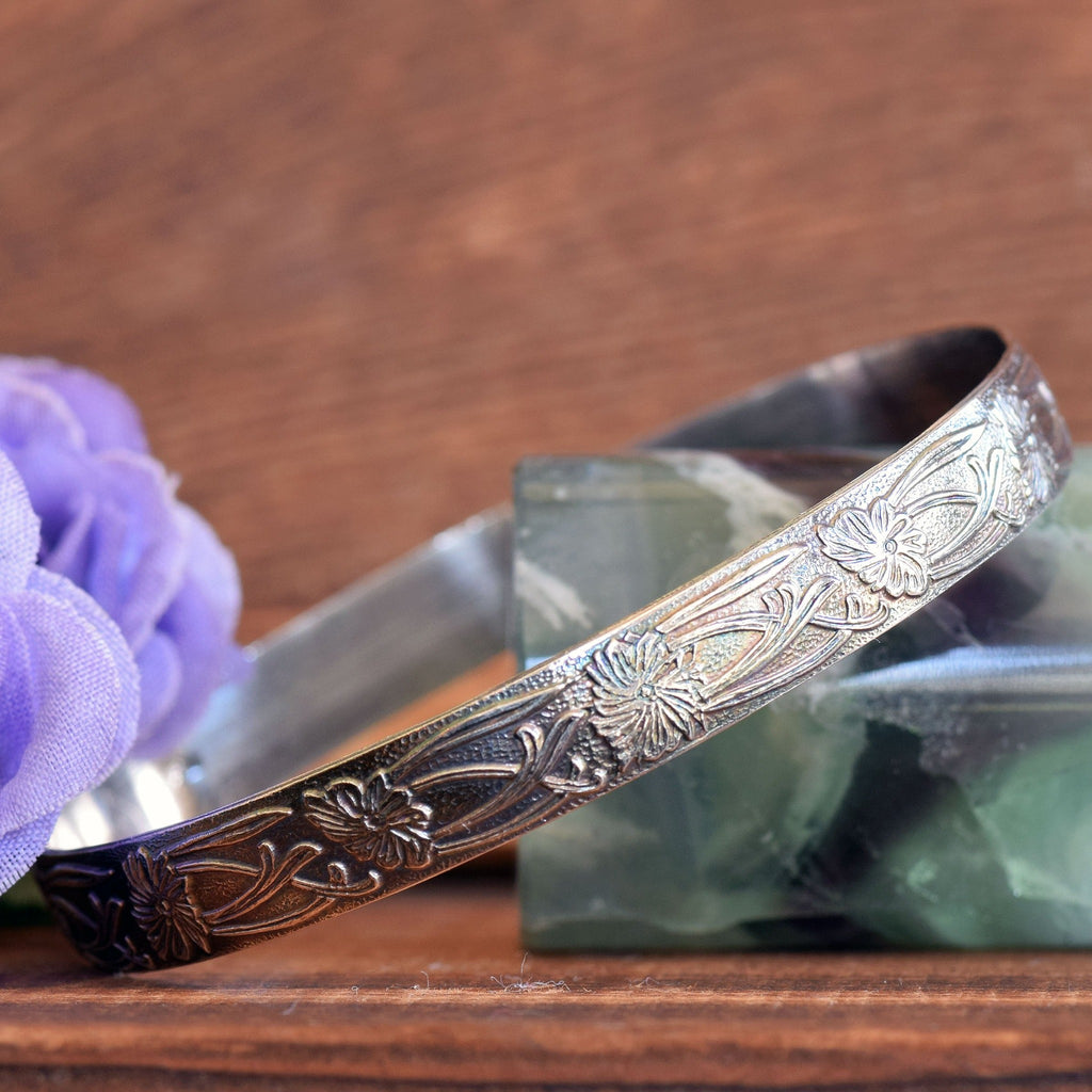 Flower and Vine Bangle Bracelet