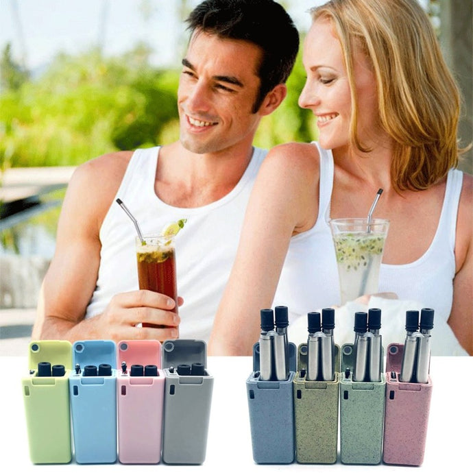 Reusable Collapsible Straw Stainless Steel Home Outdoor Hiking Drinking Straw Metal Bent Straw Drink Tea Bar Accessories