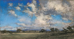 Scenic landscape of plains and sky with clouds in pastel by Amanda McLean