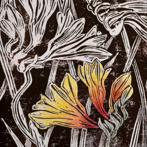 NEW!! LINOCUT PRINTING - NATIVE FLOWERS, 31 August - 14 September 2020 - Beginners to Intermediate students