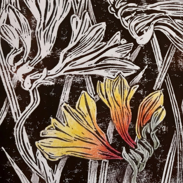 Linocut Printing - Native Flowers, Term One 2020 - with Lesley Wallington