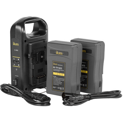 ikan Dual Pro Battery Charger with Two V-Mount Batteries