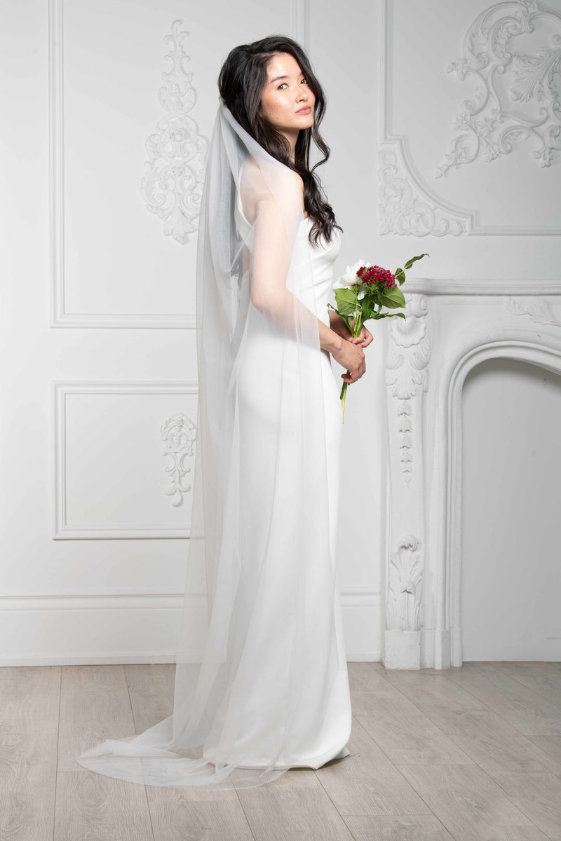 Raw Edge Floor-Length Veil