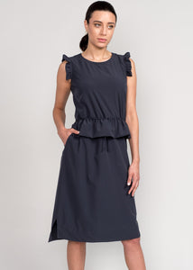 Curie Peplum Dress Charcoal