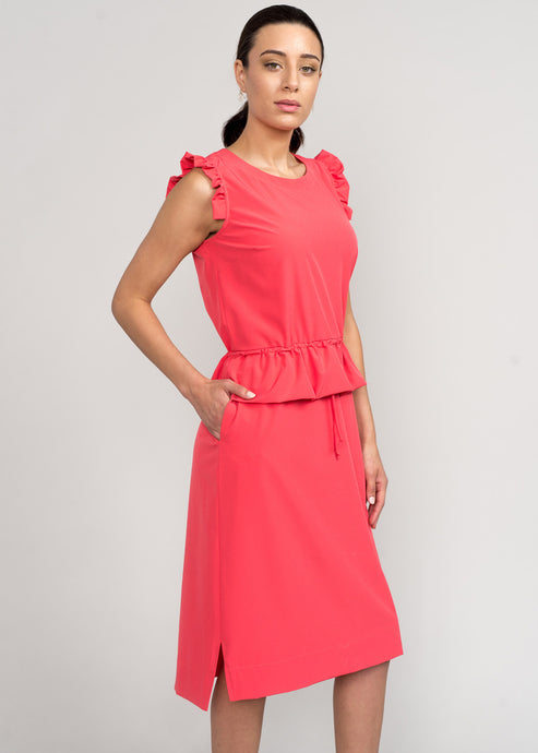 Curie Peplum Dress Coral