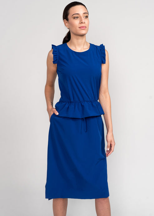 Curie Peplum Dress Royal