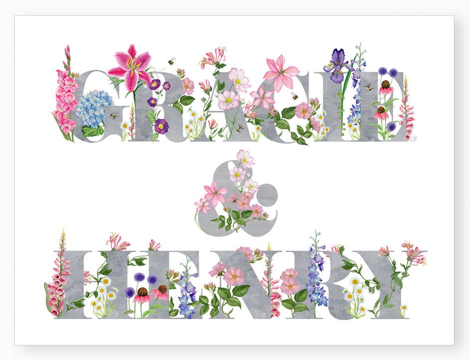 Personalised Botanical 2 Name Art Print