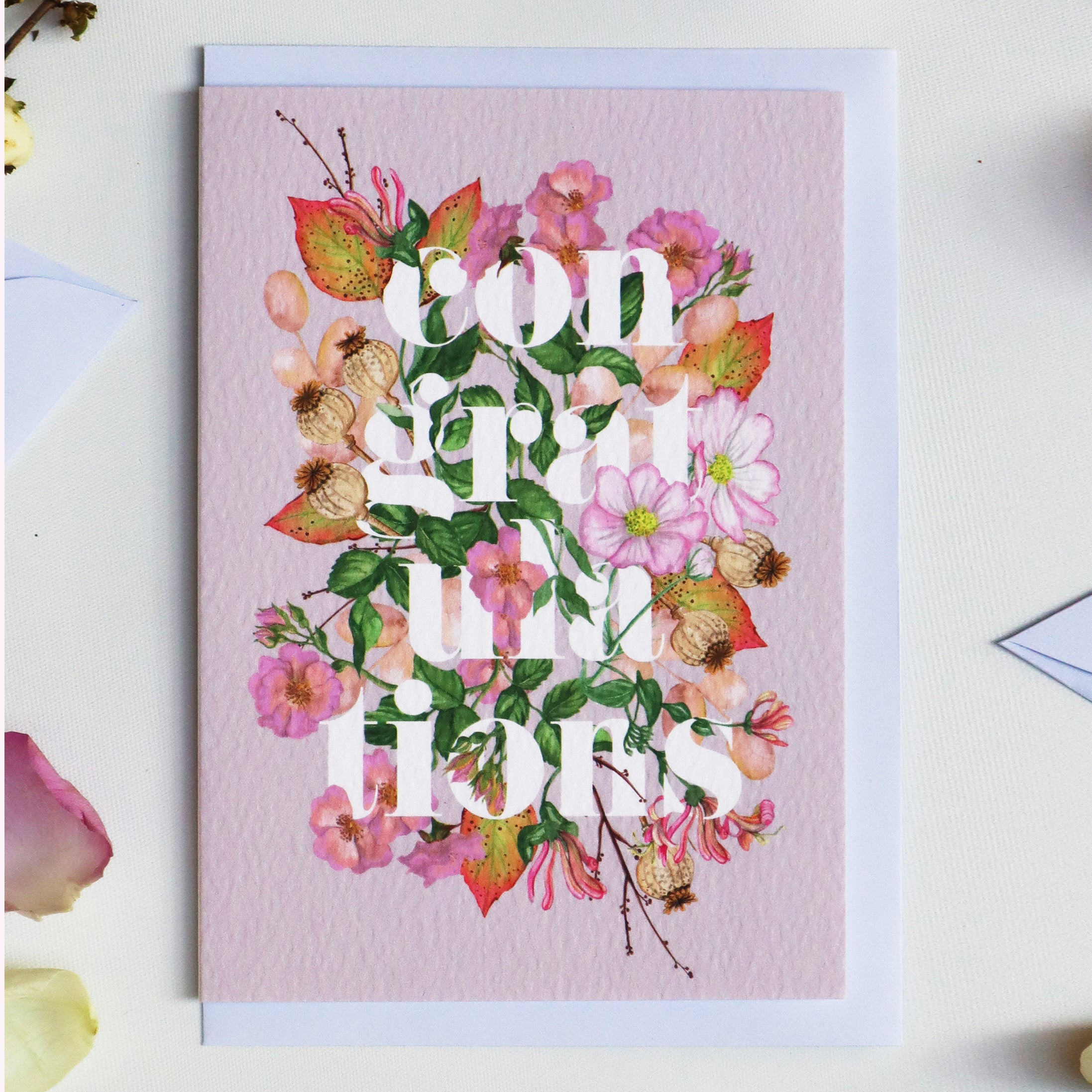 'Congratulations' Luxury Botanical Greeting Card