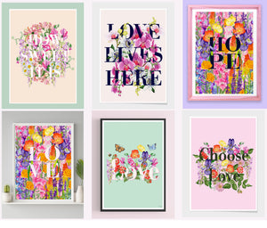 'Love'- Floral Words Art Print