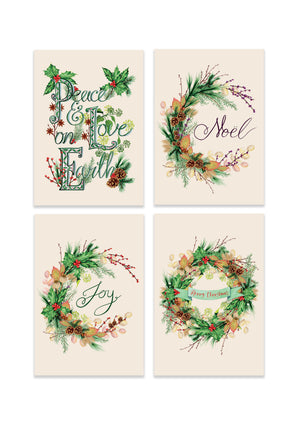 'The Christmas Wreath Botanical Collection' Set of 4 Luxury Greeting Cards