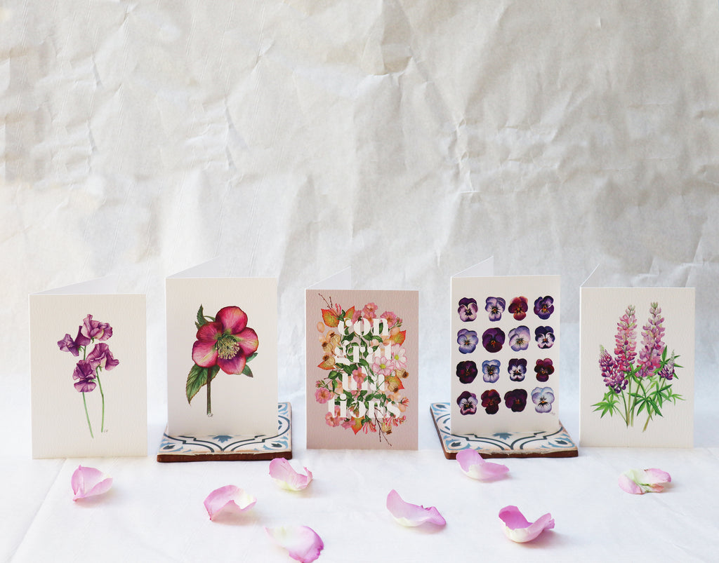 'Beautiful Botanicals Gift Card Collection' Set of 5 Luxury Floral Greeting Cards