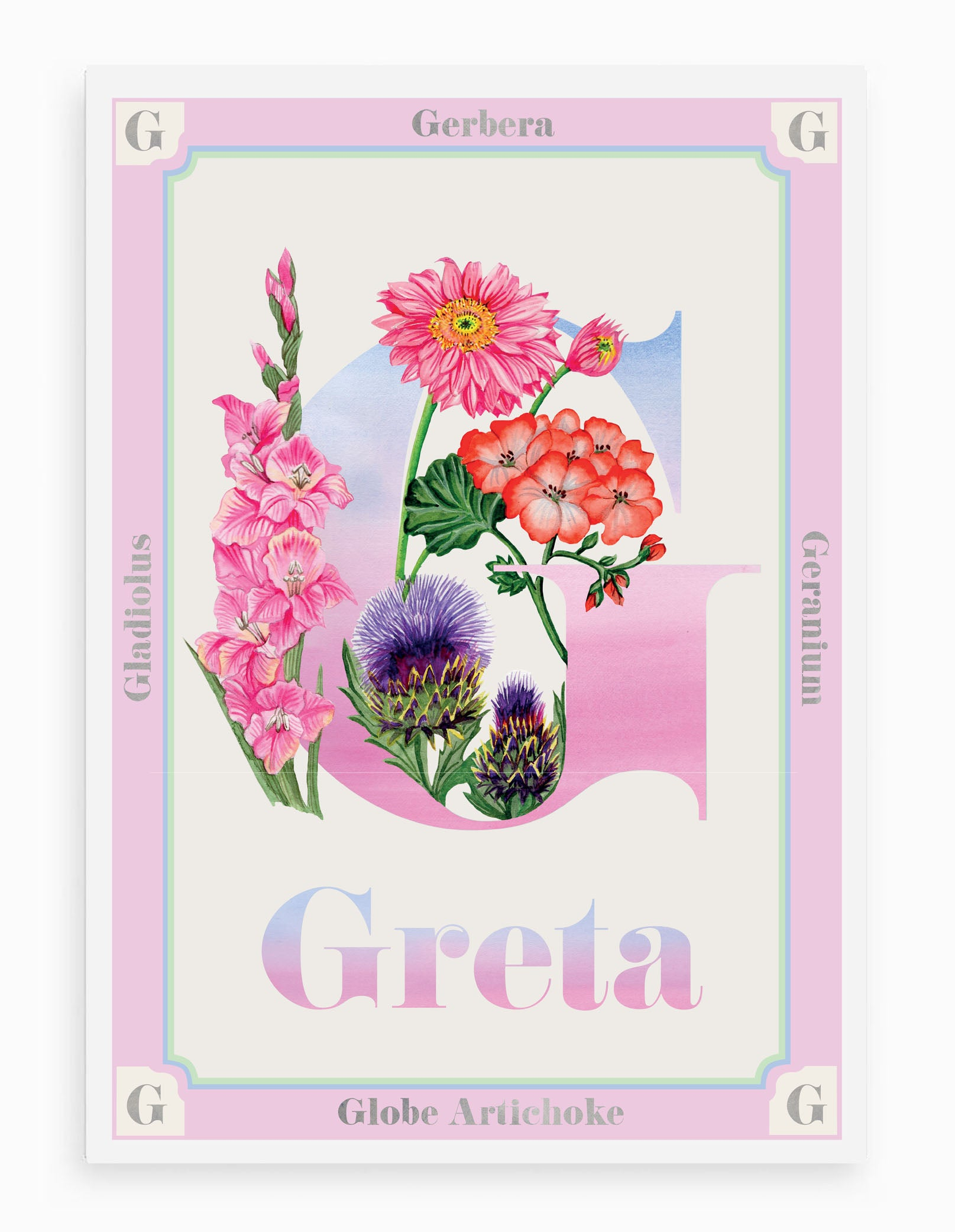 Personalised Botanical Letter 'G' Print