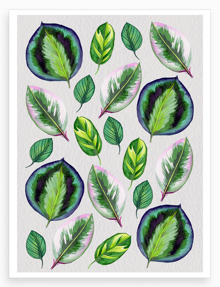 Playful & Colourful Leaves on Dove Grey- Signed and limited edition Giclée Print