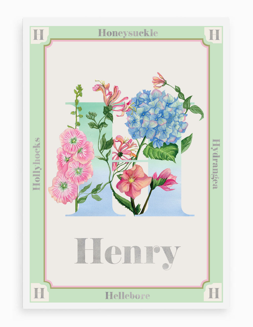 Personalised Botanical Letter 'H' Print