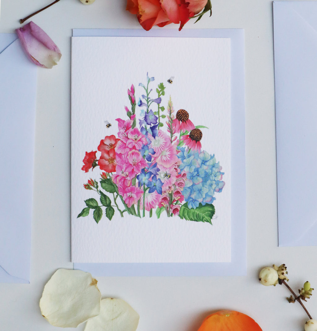 'Colourful Herbaceous Border' Luxury Botanical Greeting Card