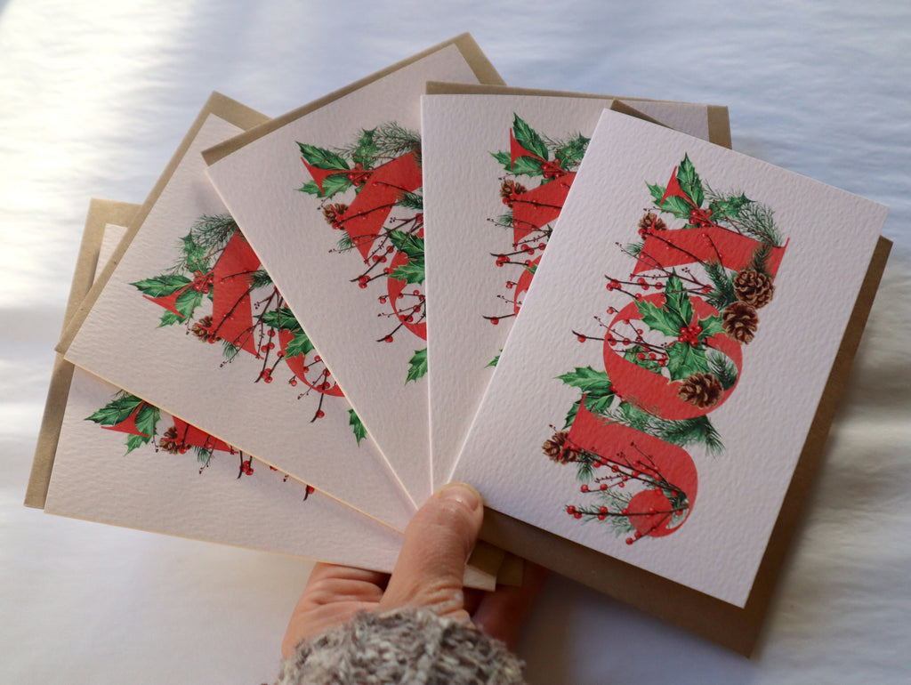 Pack of 5 'Joy' Botanical Luxury Christmas Card