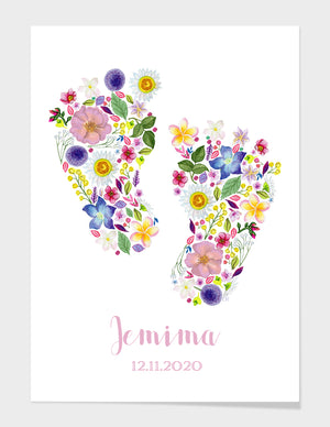'Pitter Patter Petals' Personalised New Baby Fine Art Print