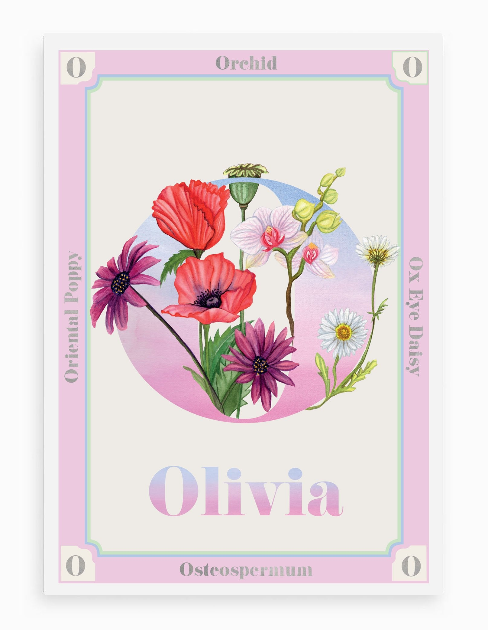 Personalised Botanical Letter 'O' Alphabet Print