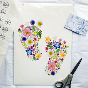 'Pitter Patter Petals' Personalised New Baby Art Print