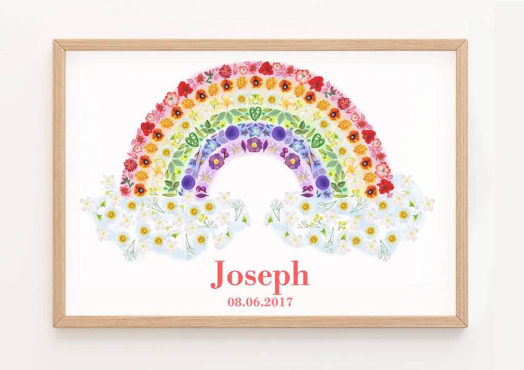 Personalised Botanical Rainbow Fine Art Print