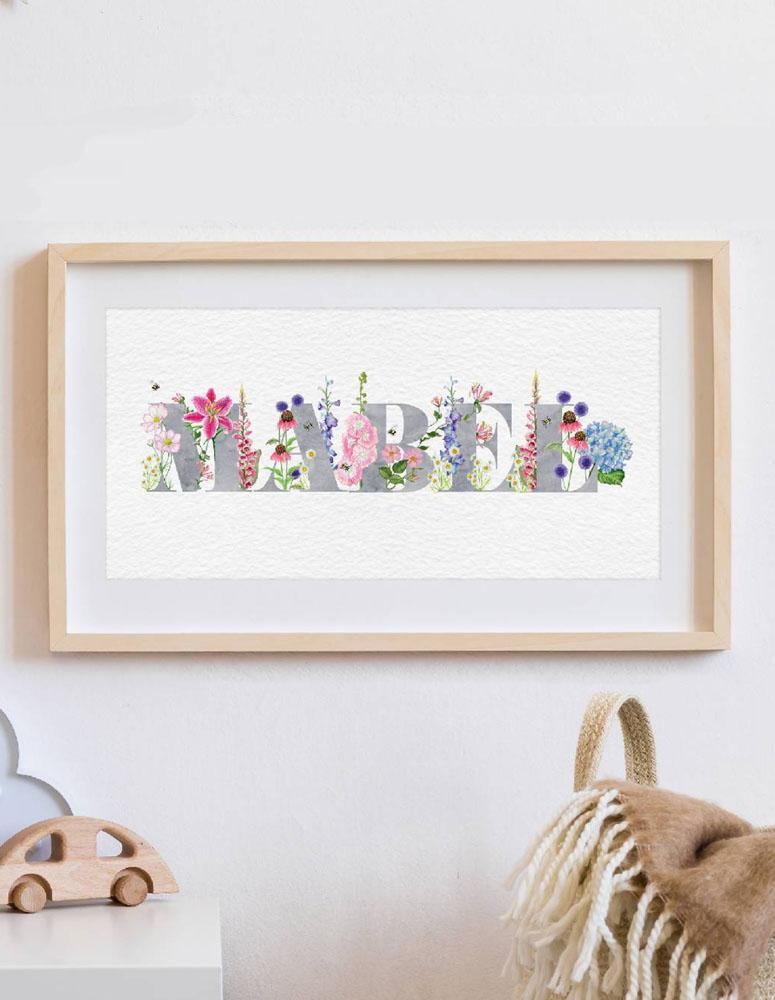 Personalised Flower Name Botanical Art Print