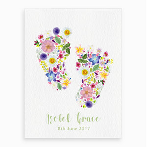 'Pitter Patter, Petals' Personalised New Baby Fine Art Print