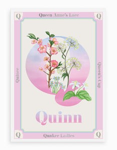 Personalised Botanical Letter 'Q' Alphabet Print