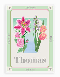 Personalised Botanical Letter 'T' Alphabet Print