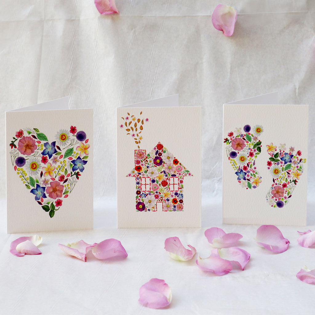 'The Petal Collection' Three Luxury Botanical Greeting Cards