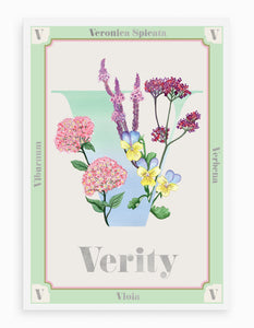 Personalised Botanical Letter 'V' Alphabet Print