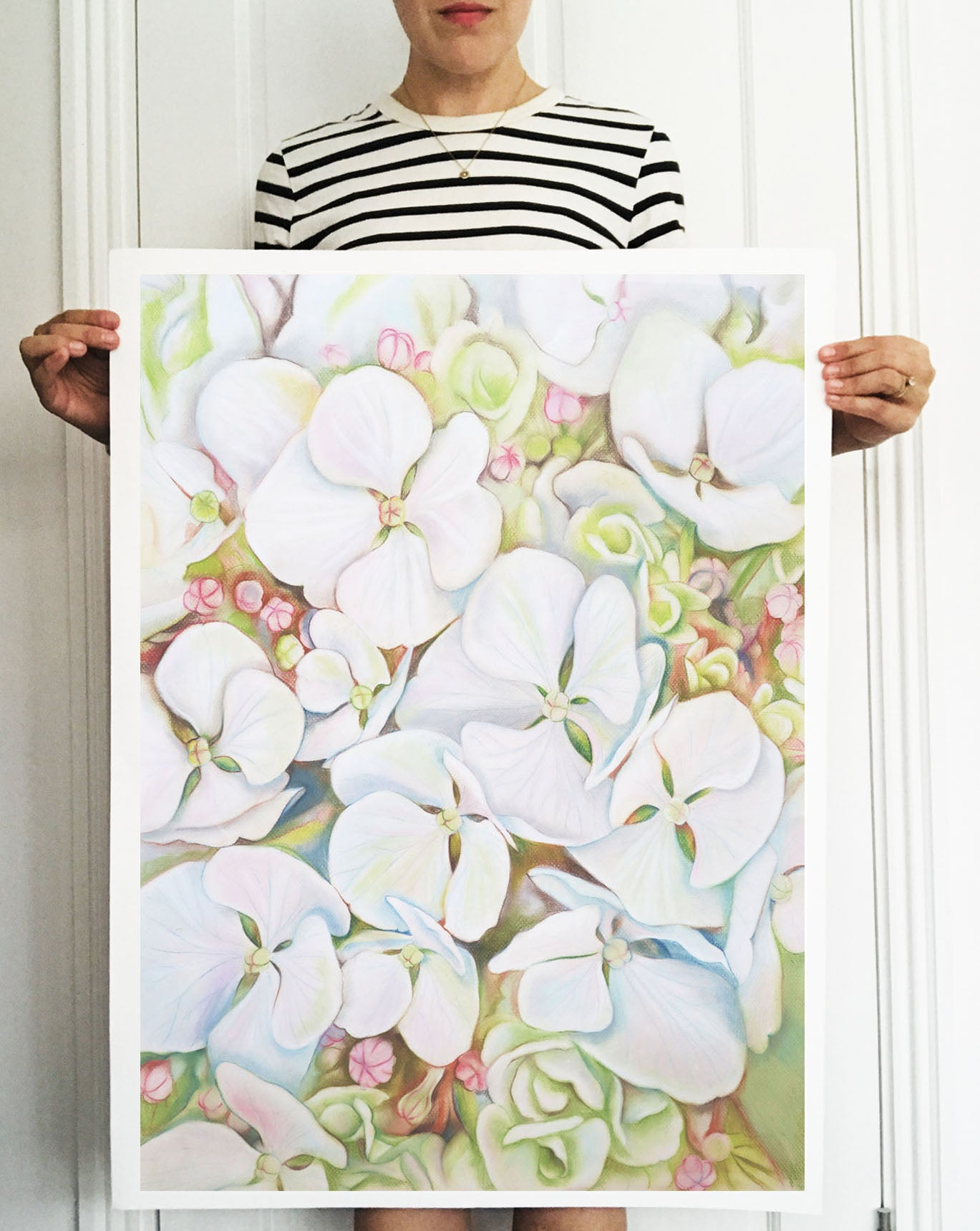 'Hydrangea Blooms in White' Signed Giclee Fine Art Print