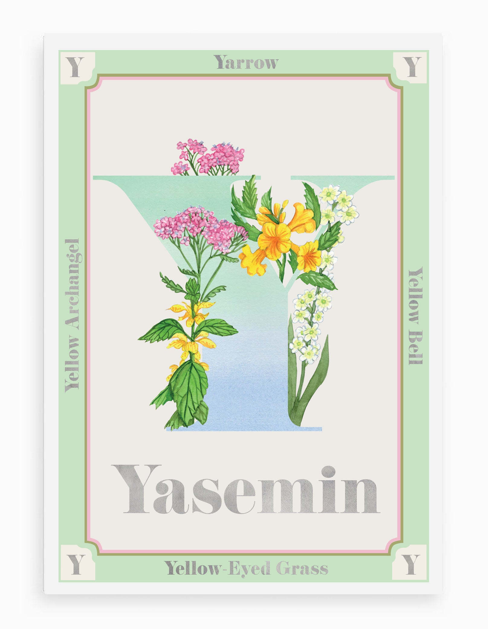 Personalised Botanical Letter 'Y' Alphabet Print