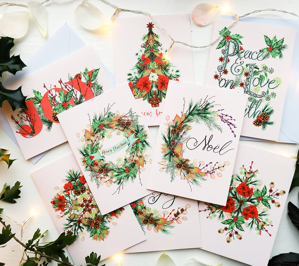 Pack of 16 assorted Luxury Botanical Christmas Cards