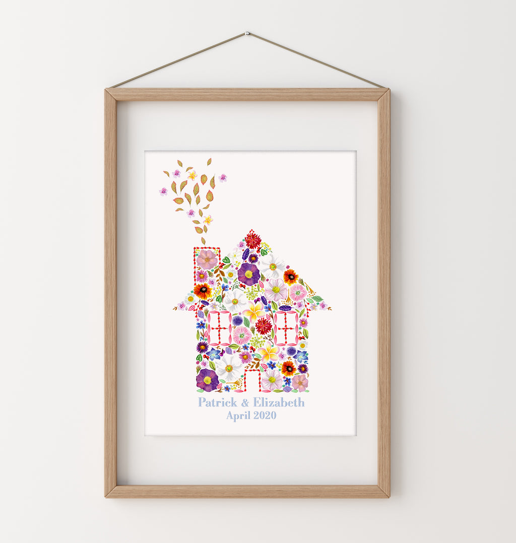 'Home is where the Flowers are'- New Home Art Print. Botanical Wall Art