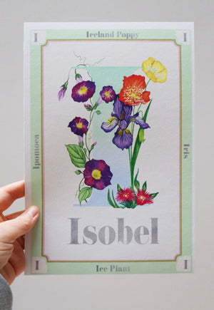 Personalised Botanical Letter Art Prints Green