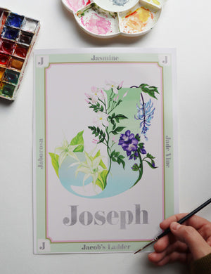 Hand Painted Personalised Botanical Letter Art Prints