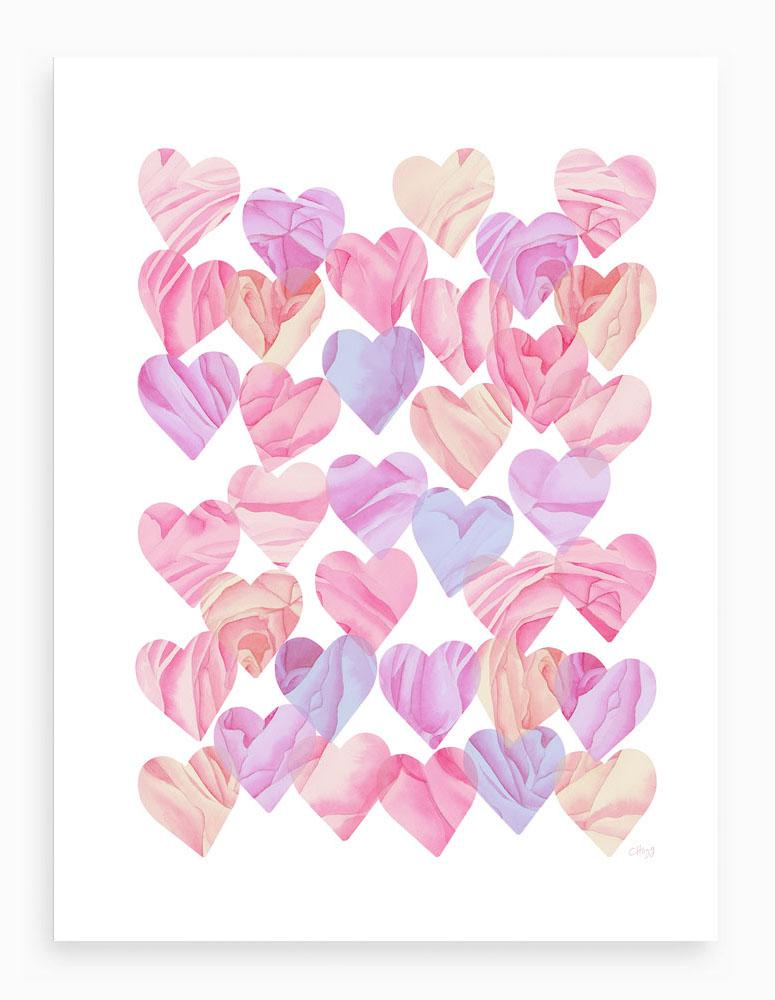 Colourful Love Hearts - Signed Giclée Print