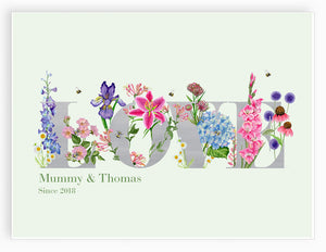 Personalised 'Love' Botanicals Giclee Art Print