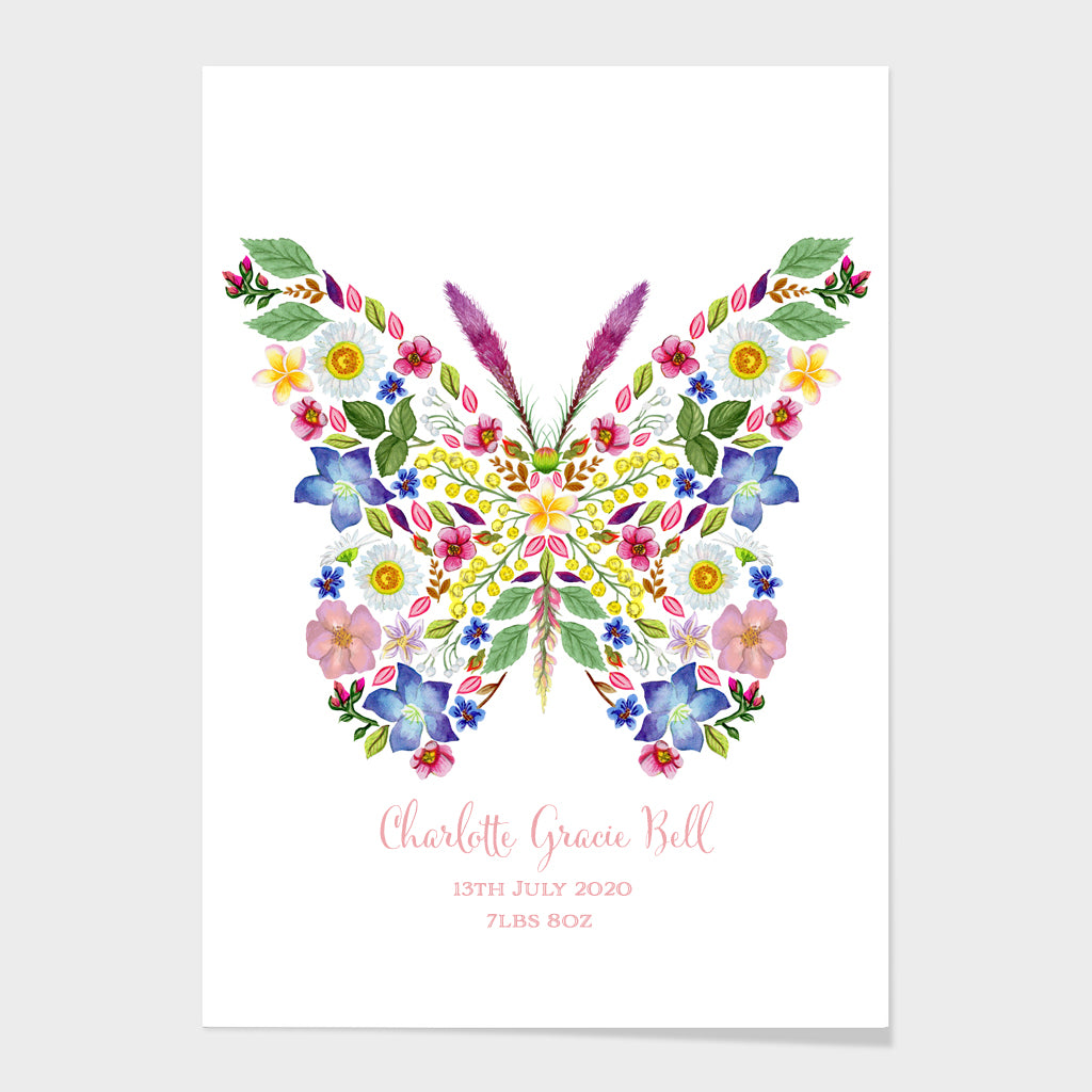 Personalised 'Botanical Butterfly' Fine Art Print