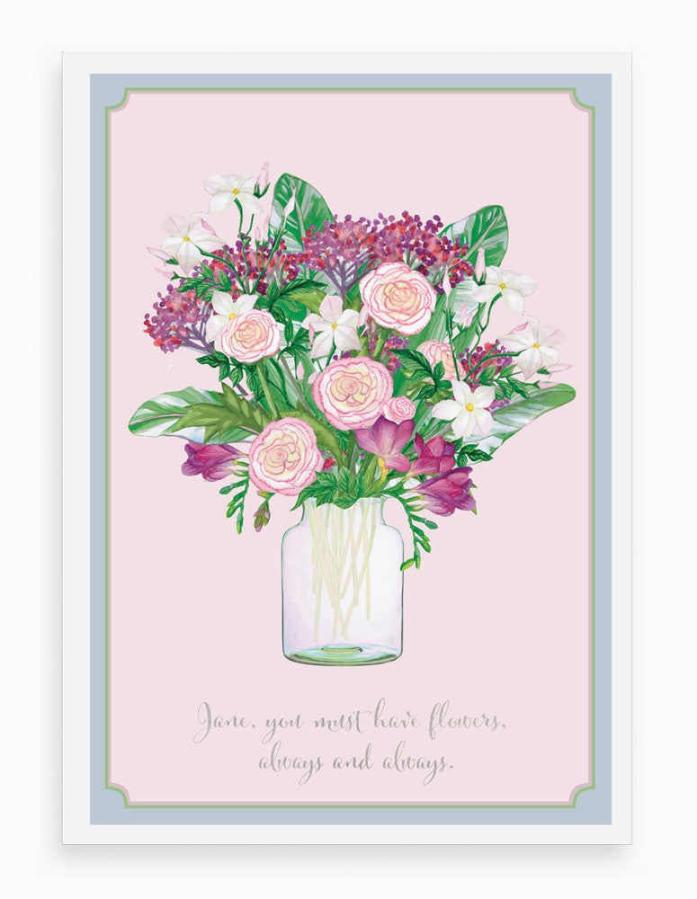'Ranunculus Bouquet' Vintage Personalised Art Print
