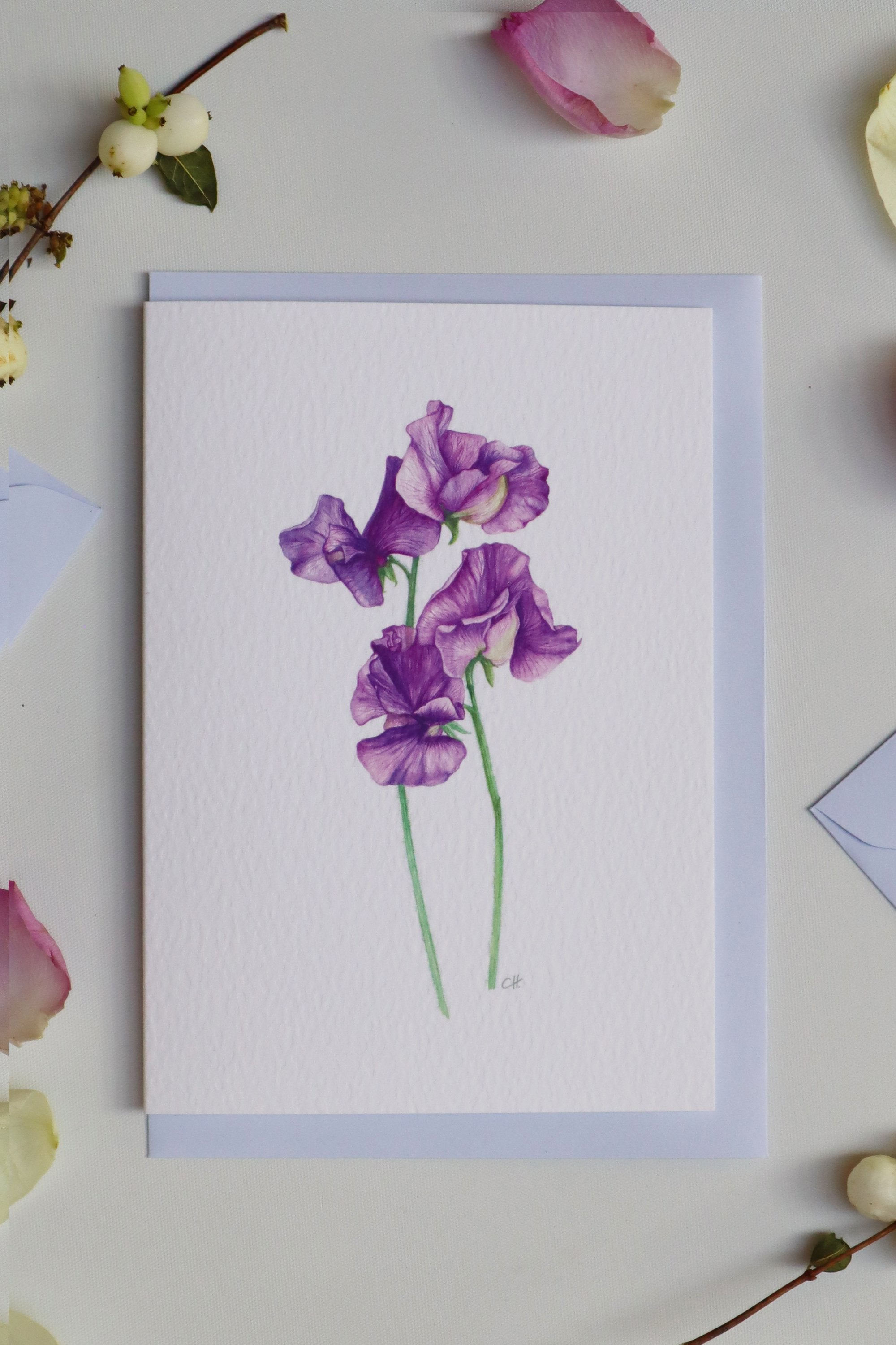 Purple Sweet Pea Luxury Botanical Greetings Card