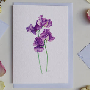 Purple Sweet Pea Luxury Botanical Greeting Card